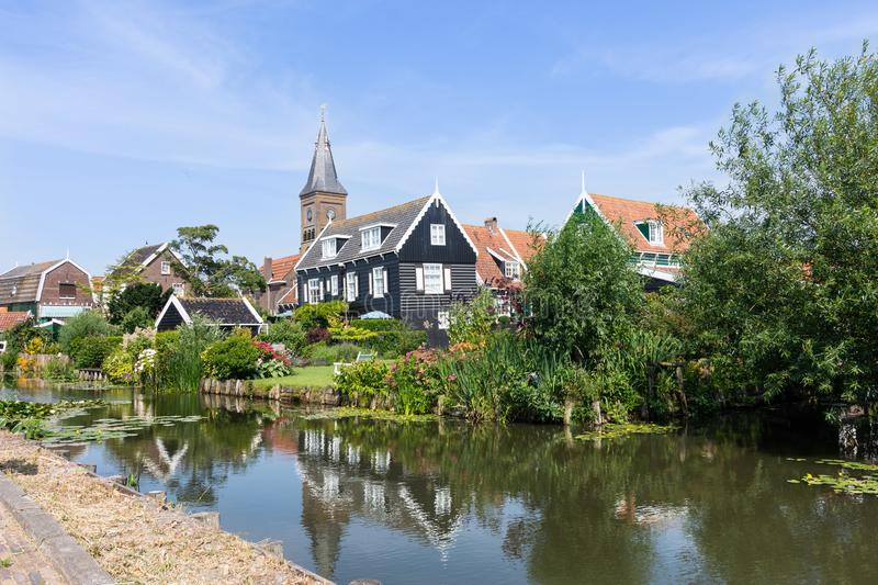 Panorama of houses and a canal in hisotric city Edam, Netherlands royalty free stock images
