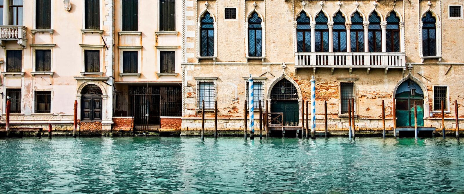 Download Panorama Of Houses And Palaces On The Grand Canal In Venice Italy Stock Image - Image of panorama, banner: 118776683