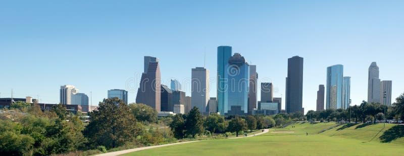 Panorama Houston de centro, en el centro de la ciudad en el día Tejas, Stat unido imágenes de archivo libres de regalías