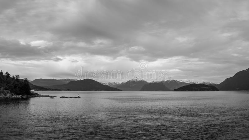 panorama of Howe Sound near Horseshoe Bay British Columbia Canada cloudy day stock images
