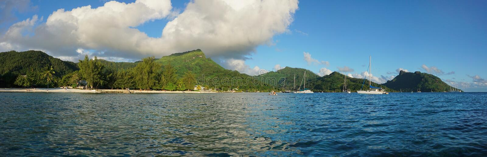 Panorama of Huahine island in French Polynesia. Panorama of Huahine island near the beach of Fare village, South Pacific ocean, French Polynesia stock images