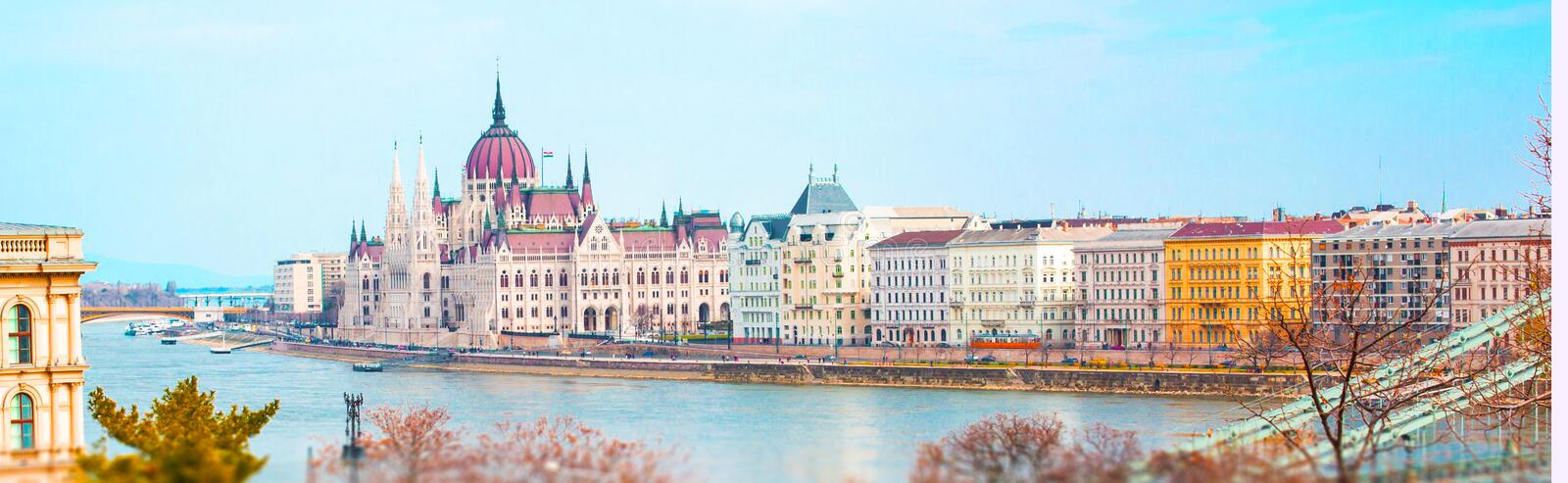 Panorama with Hungarian Parliament building and Danube river, Budapest royalty free stock image