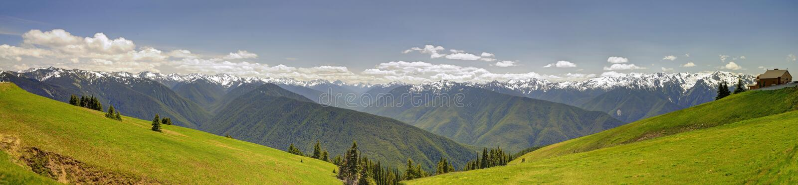 Panorama of Hurricane Ridge mountain landscape, meadow, Olympic National Park. United States stock photos