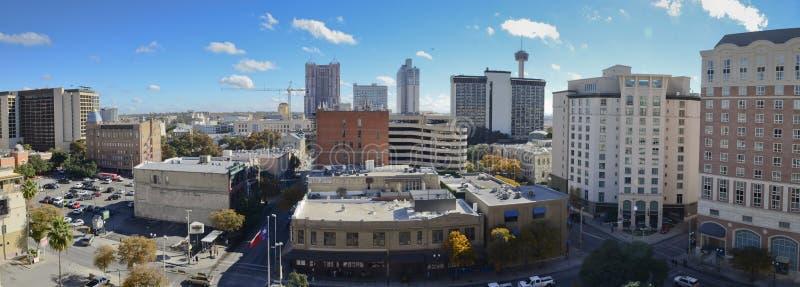 Panorama- i stadens centrum San Antonio arkivbild