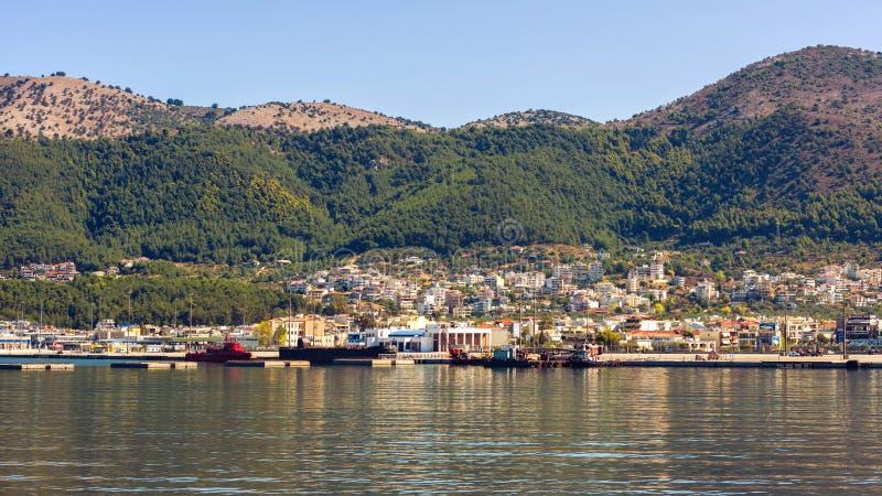 Panorama of the Igoumenitsa port in Greece. Thesprotia royalty free stock photography