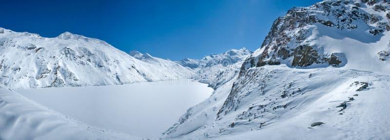 Panorama il marzo 2010 di Mattmark fotografia stock