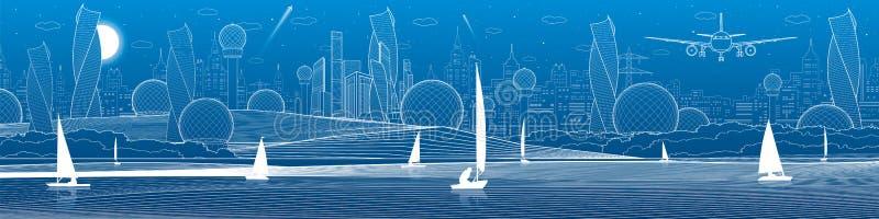Panorama- illustration för futuristisk stadsinfrastruktur Flygplanfluga Nattstad på bakgrund Att segla seglar på vatten linje whi vektor illustrationer