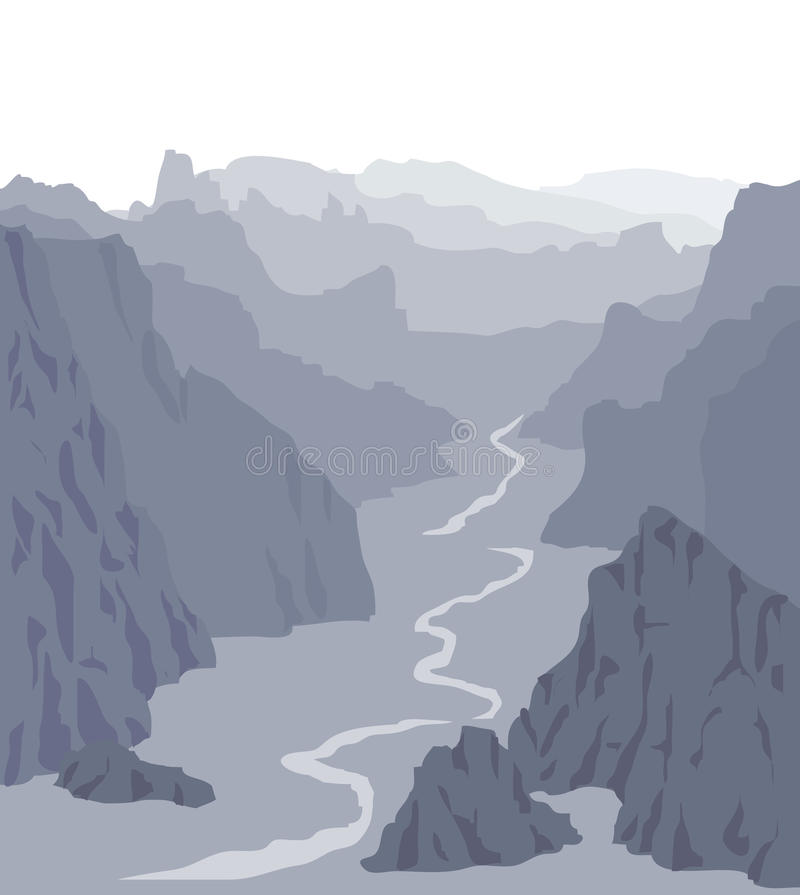 Panorama illustration. Landscape with huge grey mountains royalty free illustration