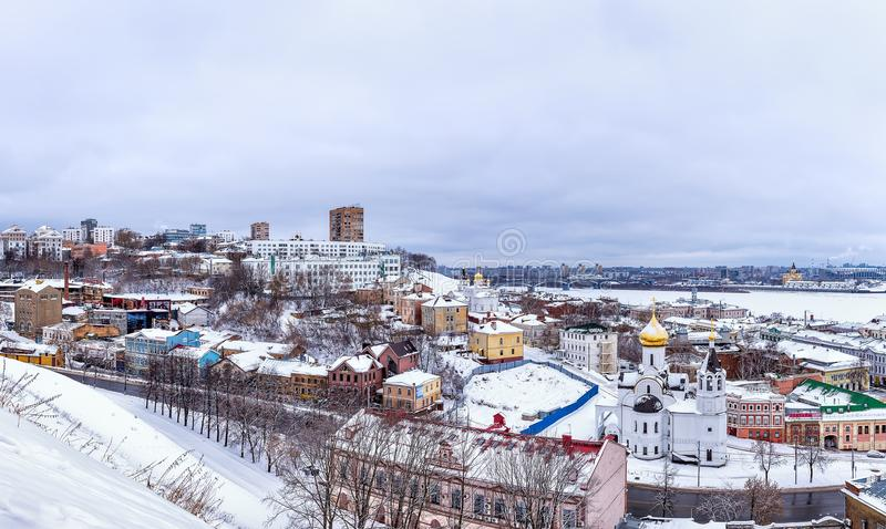 Panorama im historischen Stadtzentrum von Nizhny Novgorod lizenzfreies stockbild