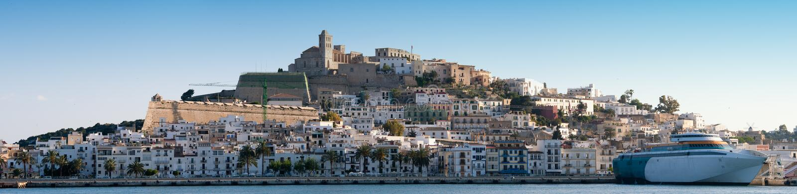 Panorama image of Ibiza town stock photography