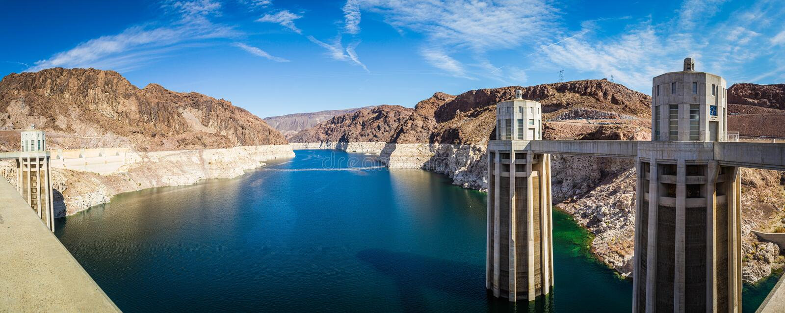 Panorama image Looking into Lake Meade from the Hoover dam. With the bleached high waterline of the dam stock photos