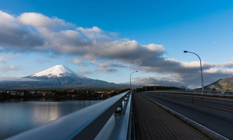 Panorama image of Mount Fuji and Lake stock photo