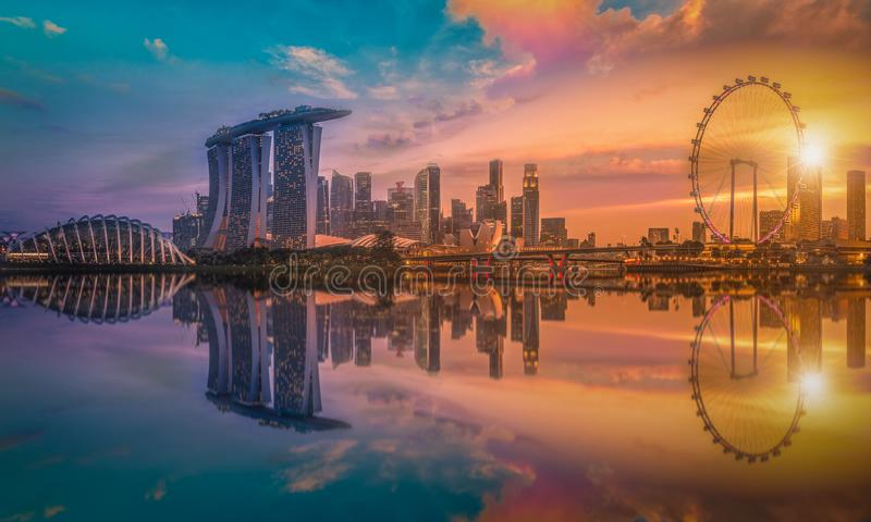 Panorama image of Singapore Skyline and view of skyscrapers on M royalty free stock photos