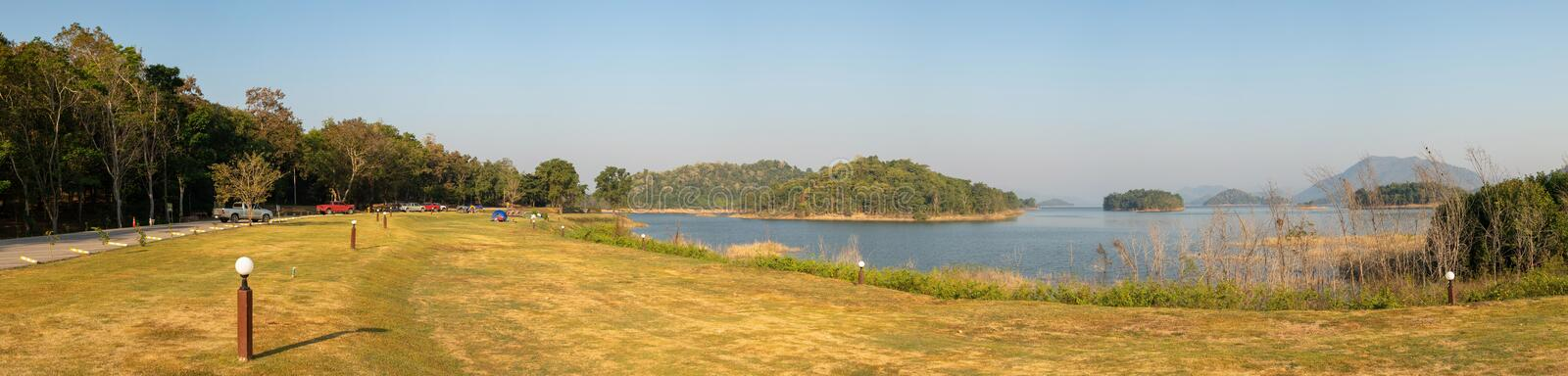 Panorama image of Tropical landscape view of Lake and Mountain at National Park. stock image