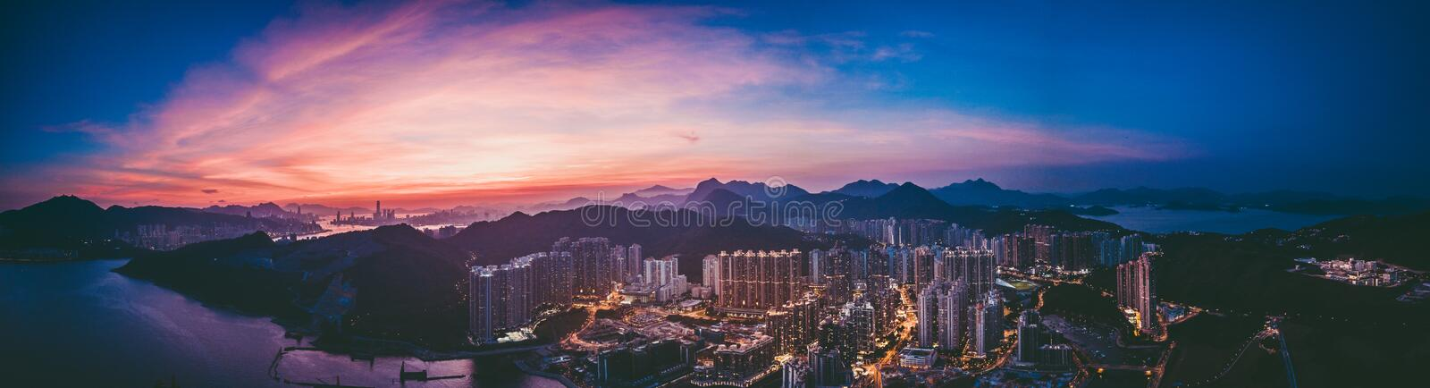 Panorama images of Hong Kong Cityscape view from sky. Panorama images of Hong Kong Cityscape with aerial view angle royalty free stock photos
