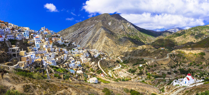 Panorama impressionnant d'île d'Olimbos- Karpathos photo libre de droits
