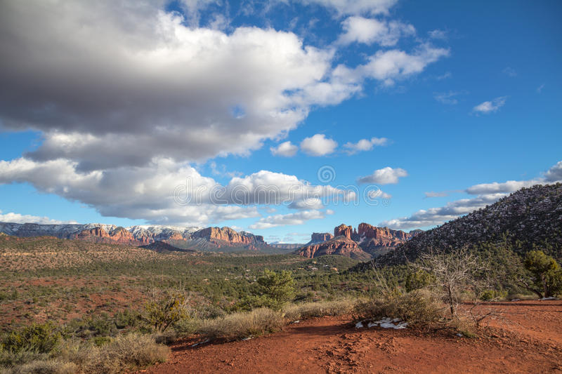 Panorama including Cathedral Rock from Red Rock Loop Road royalty free stock images