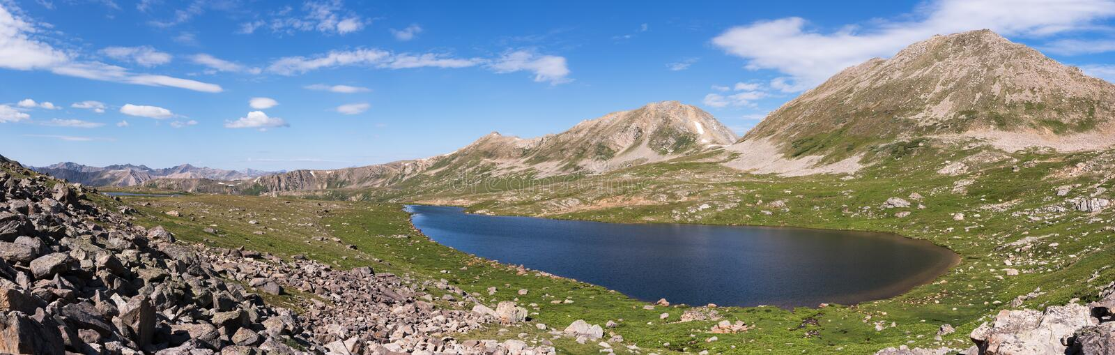 Panorama of Independence Lake with Geissler Mountain. Panorama of Independence Lake in a high mountain valley within the White River National Forest in Central stock photos