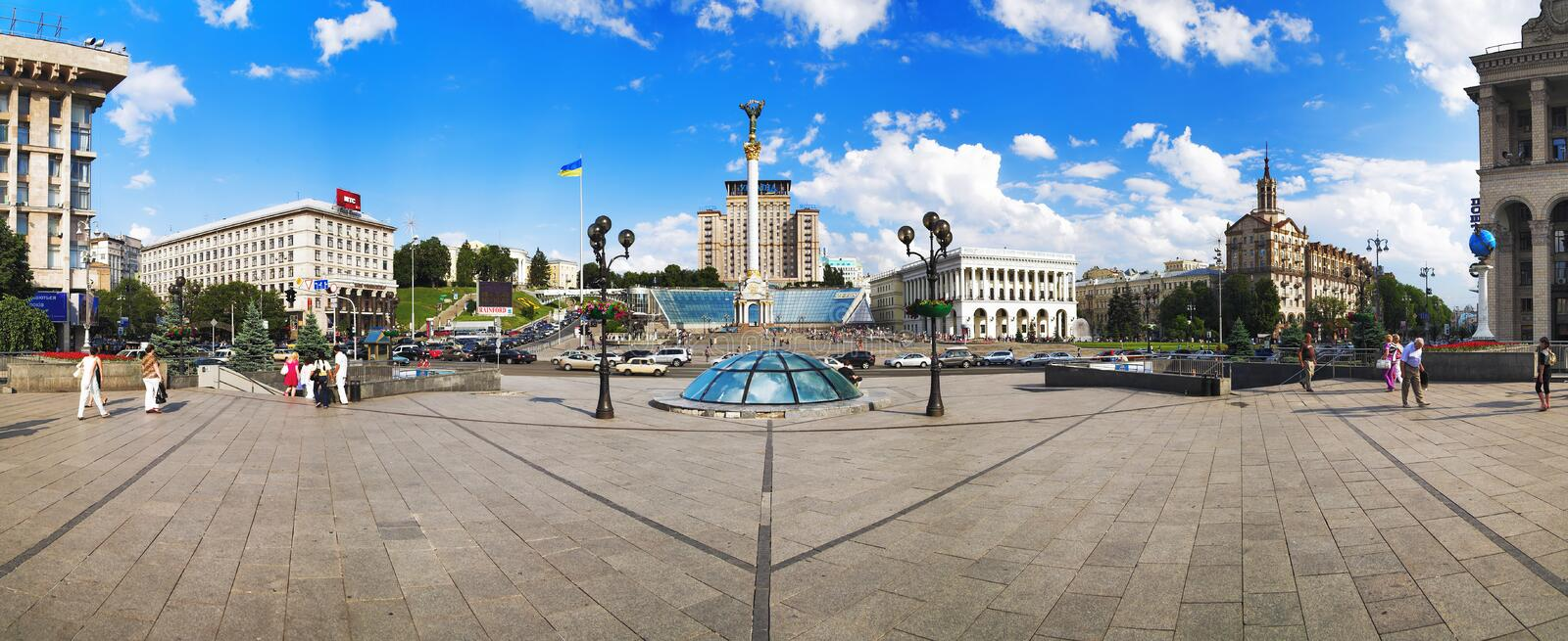 Panorama of the Independence Square in Kiev stock image