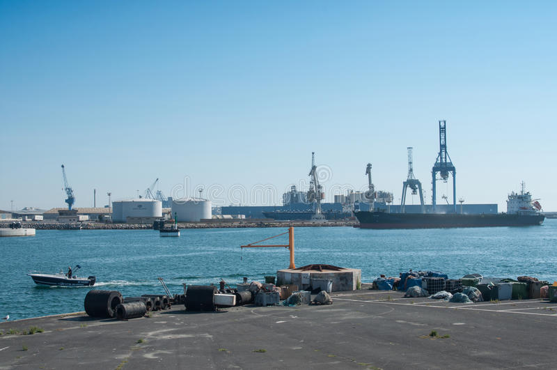 Panorama of industrial port of Sete in France royalty free stock images