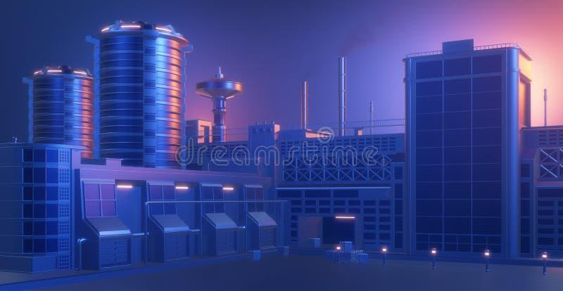Panorama industriel d'usine d'usine, construction stylisée abstraite illustration de vecteur