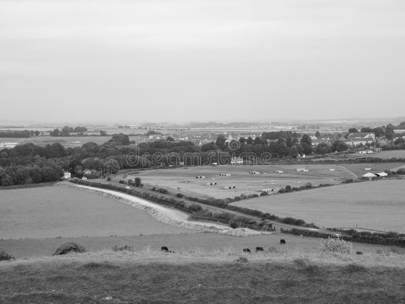 Panorama inglês do país em Salisbúria em preto e branco foto de stock royalty free