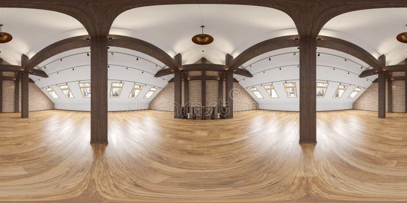 Panorama intérieur vide de grenier avec des poutres, mur de briques, plancher en bois illustration libre de droits