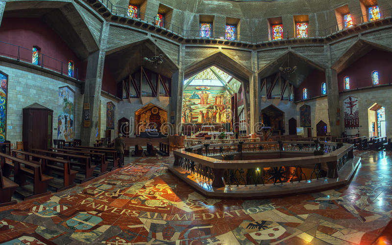 Panorama - Interior of Church of the Annunciation, Nazareth. Panorama - Interior of Church of the Annunciation with Mosaics and Stained Glass, Nazareth royalty free stock images