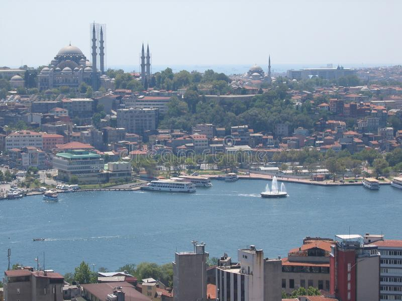 Panorama of Istanbul seen by the tall one. Turkey. Panorama of Istanbul seen by the tall one, Turkey.nTravel destination. Sunny day. Blue sky. Big city. Mosques royalty free stock photo