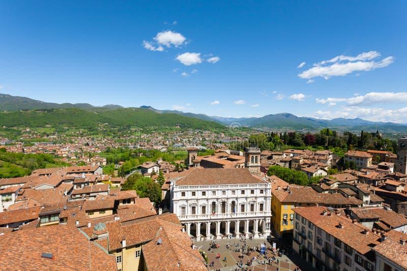 Panorama italiano, cidade superior de Bergamo imagens de stock royalty free