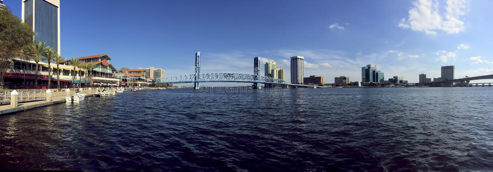 Panorama of Jacksonville and the St. Johns River stock image