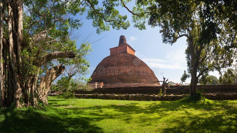 Panorama of Jetavanaramaya Dagoba, Anuradhapura, Sri Lanka royalty free stock photo