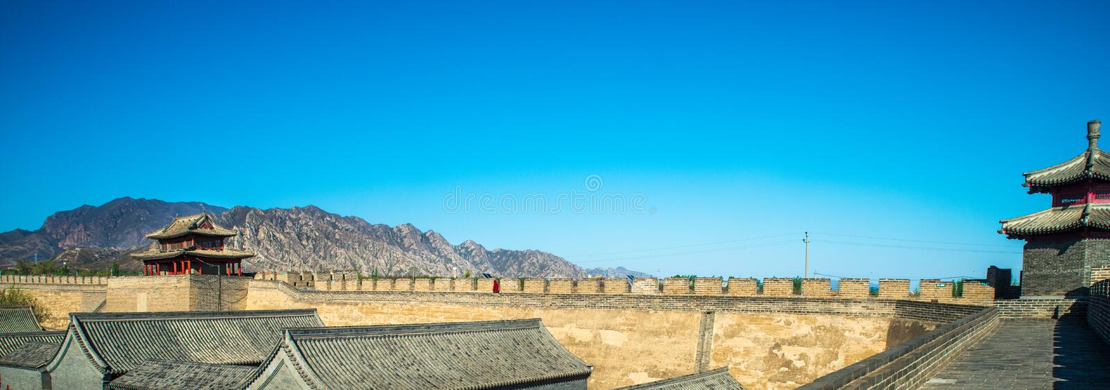 Panorama of Jiming courier station. Jiming Post is an ancient post built in Ming Dynasty , HeBei province , China stock photography