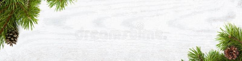 Panorama- julbakgrund med naturligt sörjer trädfilialer royaltyfri illustrationer
