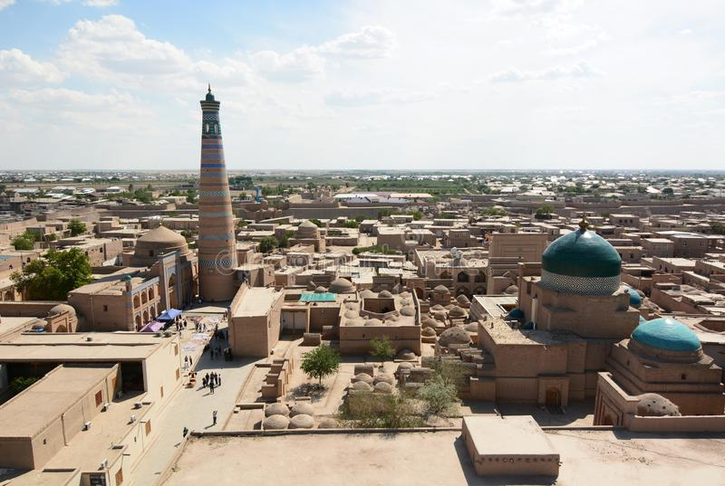 Panorama from Juma minaret. Itchan Kala. Khiva. Uzbekistan. Khiva is a city located in Xorazm Region, Uzbekistan; Itchan Kala is the old walled town stock photos