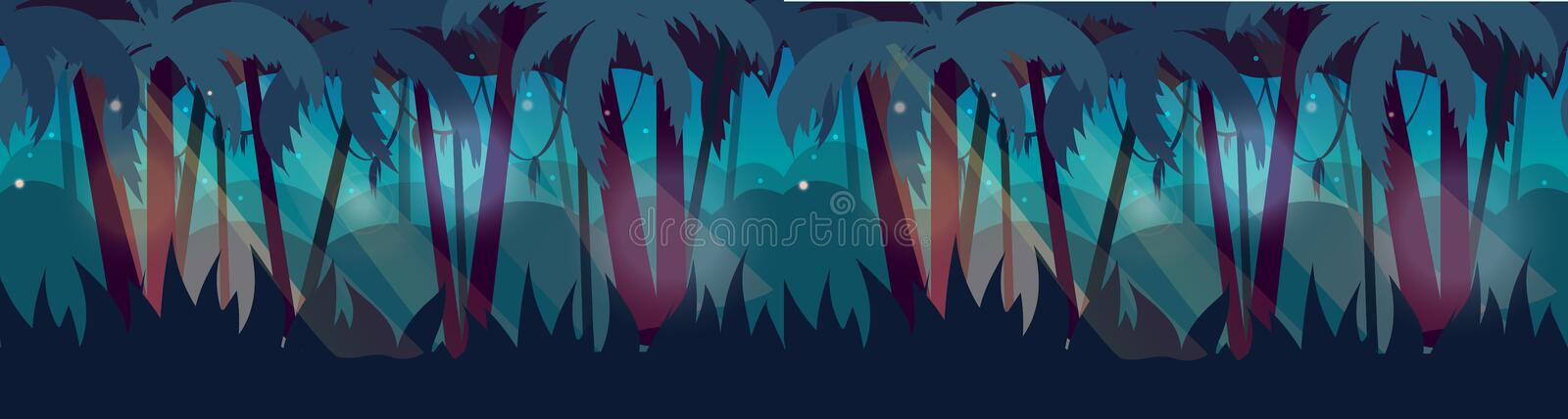 Panorama with Jungle Rainforest landscape. Vector illustration for your design vector illustration