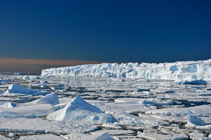 Panorama and just air. View of the ocean, icebergs , terrain and scenery Antarctic. Panorama and just air. View of the ocean, icebergs and ar station, terrain stock image