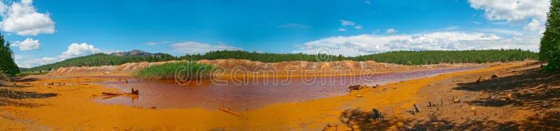 Panorama of the Karabash city. Acidic drains and orange soil royalty free stock photos