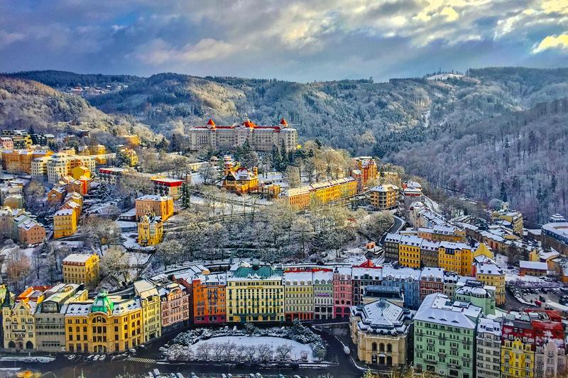Panorama of Karlovy Vary, Czech Republic. Karlovy Vary is a beautiful Spa-resort in the heart of Czech Republic. Its panorama from the surrounding mointains is stock photography