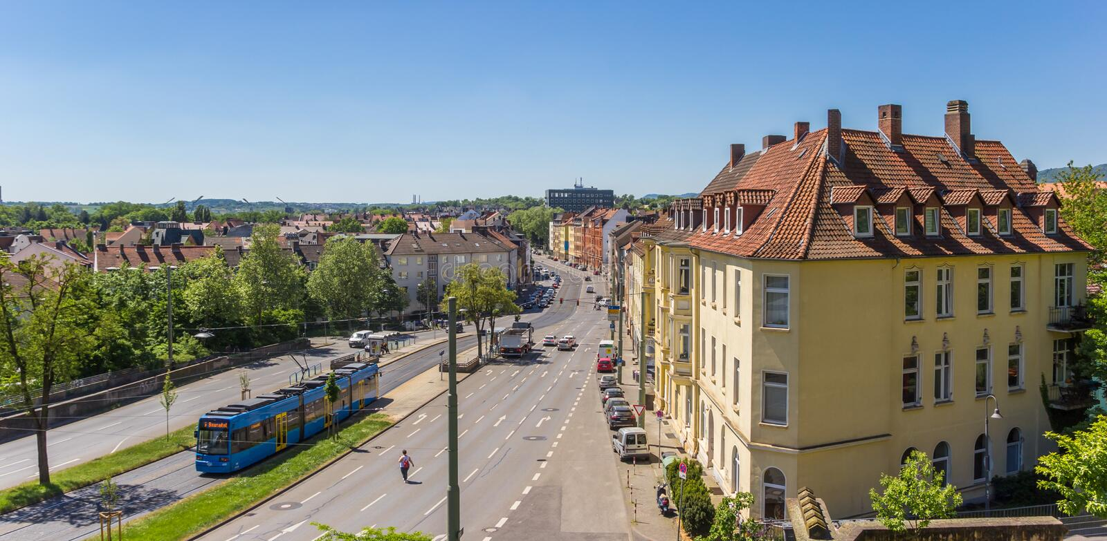Panorama of Kassel from the Weinberg hill. Panorama of the Frankfurter strasse in Kassel from the Weinberg hill in Germany stock photography