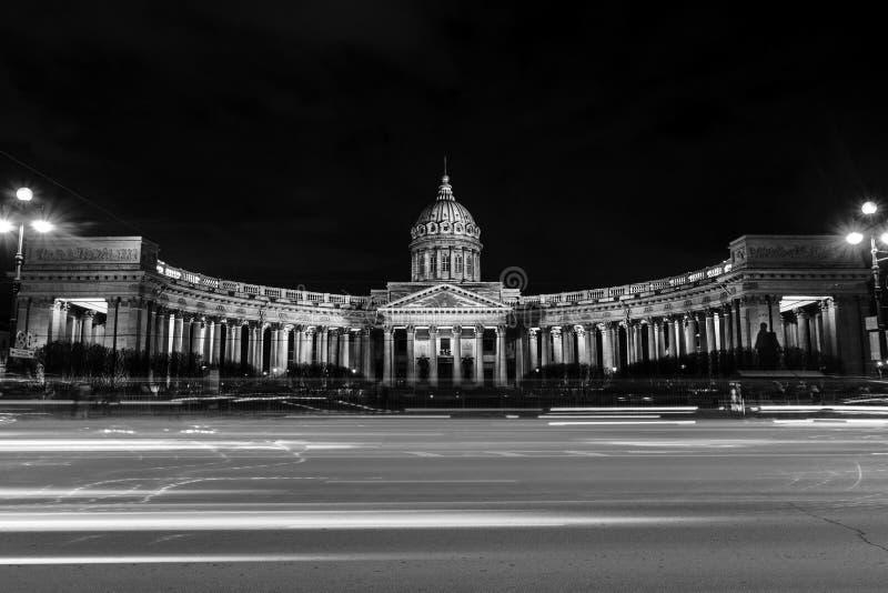 Panorama katedra Nasz dama Kazan, rosyjski kościół prawosławny w świętym Petersburg, Rosja czarny white obraz royalty free