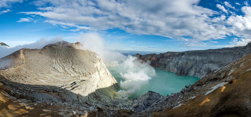 Panorama Kawa Ijen Volcano crater and lake. royalty free stock photos