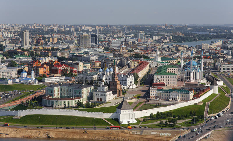 Panorama of Kazan in the air. Photo from helicopter. Kazan kremlin stock photography