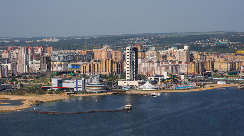 Panorama of Kazan in the air. Photos from. Helicopter. The hotel and water park - Kazan Riviera stock image