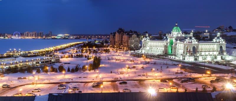 Panorama Kazan na Kazanka Rzecznym widoku od Kazan Kremlin w zimie 3 zdjęcie stock