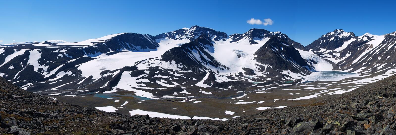 Panorama of Kebnekaise massif stock photography