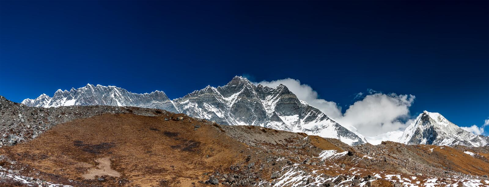 Panorama of the Khumbu valley in Nepal with Lhotse mount royalty free stock photo