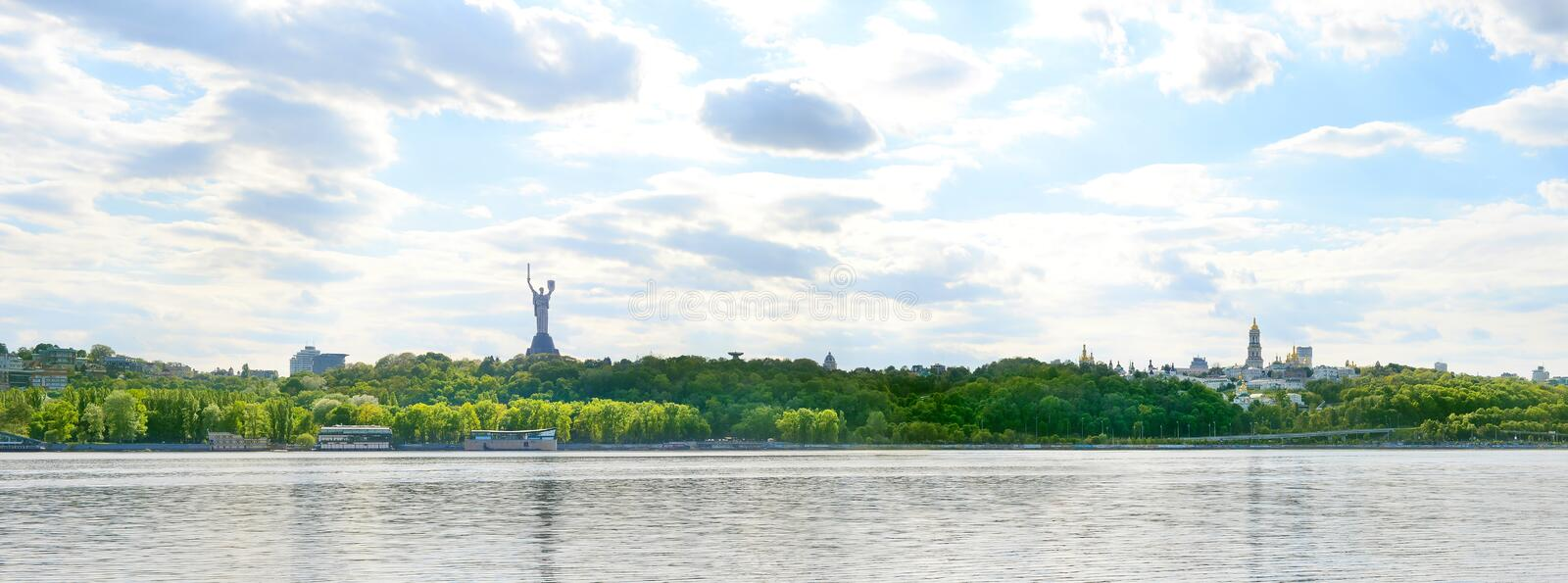 Kiev Dniepr river Motherland panorama stock images