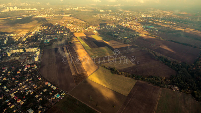 Panorama of Kiev suburb from above. Aerial view. stock photography