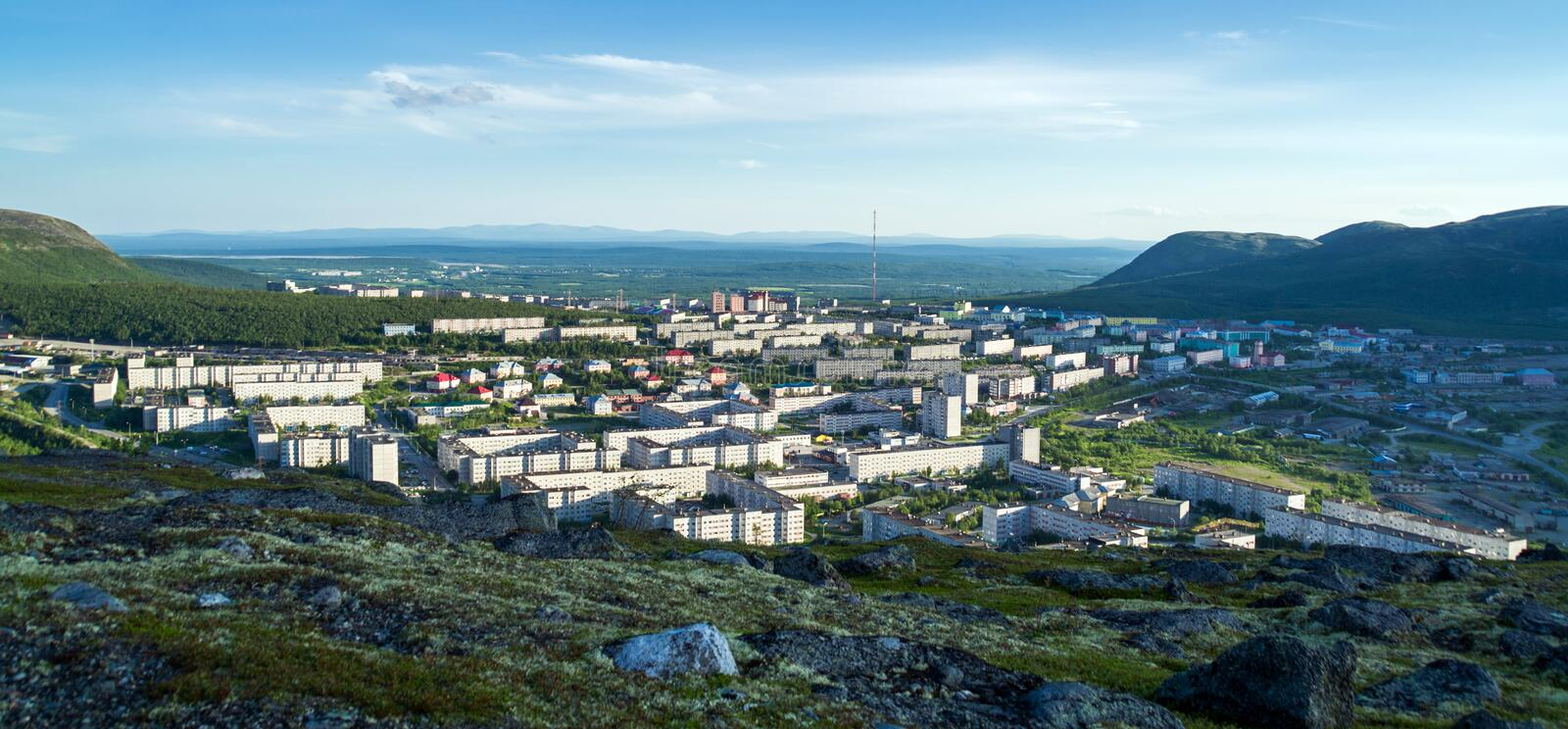Panorama of Kirovsk in the summer stock images